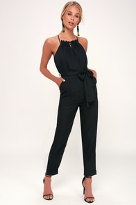 Soiree Black Striped Cross Back Halter Jumpsuit at Lulus.com!