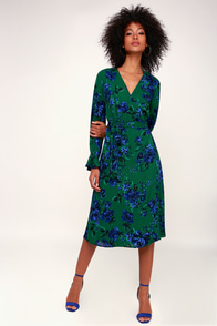 Romantic Blooms Green Floral Print Midi Wrap Dress at Lulus.com!