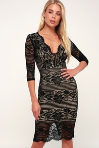 Gotta Have You Black and Nude Lace Bodycon Dress