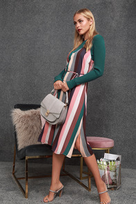 Erina Mauve Multi Stripe Belted Midi Slip Dress at Lulus.com!