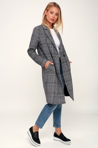 Chilly Out Black And White Glen Plaid Long Coat at Lulus.com!