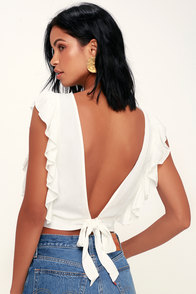 Go West White Ruffled Backless Crop Top