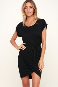 Monica Black Bodycon Wrap Dress