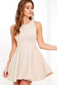 Gal About Town Beige Skater Dress