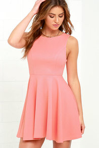 image Gal About Town Coral Pink Skater Dress