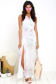 image Obey Plastic Isle Ivory Print Maxi Dress