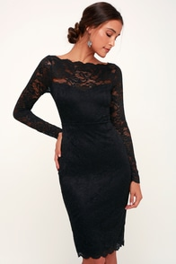Margalo Black Lace Long Sleeve Bodycon Dress at Lulus.com!