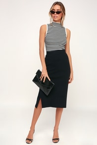 Kellie Black Ribbed Sweater Pencil Skirt at Lulus.com!