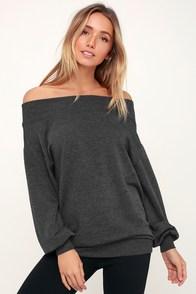 Wildflower Dark Heather Grey Off-the-Shoulder Sweatshirt