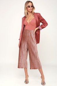 Dance Party Rusty Rose Pleated Velvet Culottes at Lulus.com!