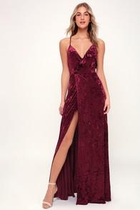 Be Together Burgundy Velvet Maxi Dress