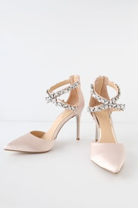 Jazmine Champagne Satin Rhinestone Pumps at Lulus.com!