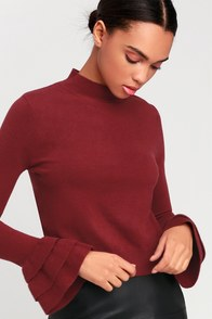 Katie Wine Red Ruffled Flounce Sleeve Sweater Top at Lulus.com!