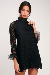Love And Joy Black Lace Long Sleeve Shift Dress at Lulus.com!
