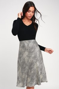 Wild About You Grey Leopard Print Satin Midi Skirt at Lulus.com!