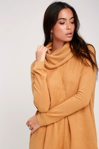 Autumn Daze Camel Cowl Neck Long Sleeve Sweater Dress at Lulus.com!