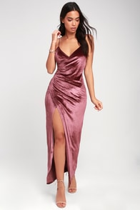 Debut Diva Mauve Velvet Maxi Dress at Lulus.com!