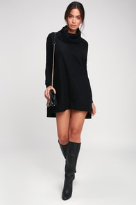 Autumn Daze Black Cowl Neck Long Sleeve Sweater Dress at Lulus.com!
