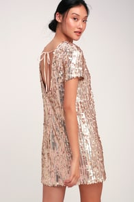 So Sparkly Blush Sequin Scoop Back Shift Dress at Lulus.com!