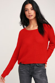 Fitz Red Knit Sweater at Lulus.com!