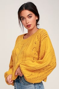 Alden Mustard Yellow Cropped Balloon Sleeve Knit Sweater at Lulus.com!