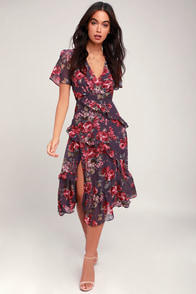 Pick Me Up Purple Floral Print Ruffled Midi Dress at Lulus.com!