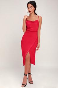 Hollywood Woman Red Satin Midi Dress