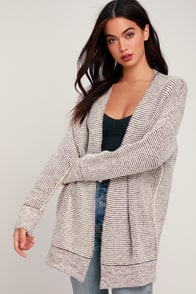 Alpine for You Burgundy and Cream Oversized Cardigan Sweater