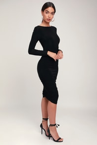 Sweet Thing Black Ruched Long Sleeve Backless Bodycon Dress at Lulus.com!