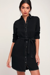 City Chic Black Long Sleeve Shirt Dress at Lulus.com!