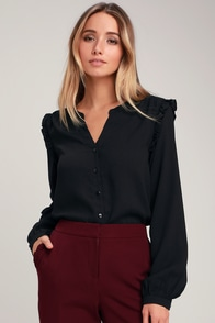 Fatima Black Ruffled Long Sleeve Button-Up Top at Lulus.com!