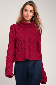 Fontaine Fuchsia Cable Knit Cowl Neck Sweater at Lulus.com!