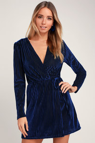 Live It Up Royal Blue Striped Velvet Long Sleeve Dress at Lulus.com!