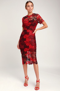 Season Of Joy Red Multi Lace Midi Dress at Lulus.com!