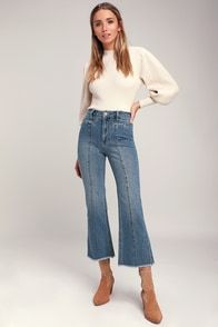 Flying High Medium Wash Seamed Wide-Leg Jeans at Lulus.com!