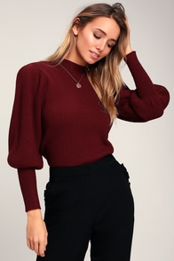 Eugenie Burgundy Balloon Sleeve Sweater at Lulus.com!