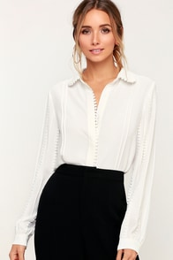 On A Whimsy Ivory Crochet Long Sleeve Button-Up Top at Lulus.com!
