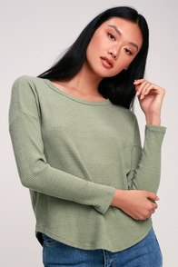 Baizen Washed Sage Green Ribbed Long Sleeve Top at Lulus.com!