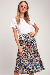 Global Icon Tan And Navy Blue Leopard Print Satin Midi Skirt at Lulus.com!