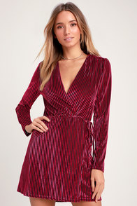 Live It Up Magenta Striped Velvet Long Sleeve Dress at Lulus.com!