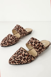 Enya Natural Leopard Suede Cutout Slides at Lulus.com!