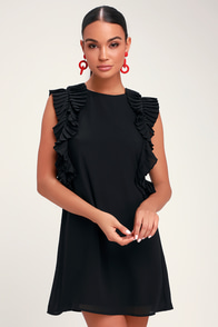 We Got The Pleat Black Statement Sleeve Shift Dress at Lulus.com!