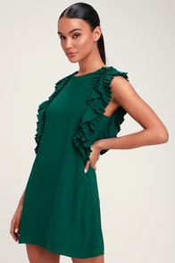 We Got The Pleat Dark Green Statement Sleeve Shift Dress at Lulus.com!