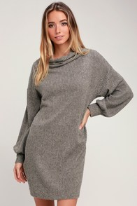 Chatham Taupe Marled Cowl Neck Sweater Dress at Lulus.com!
