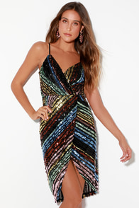 La Salle Multi Sequin Striped Sleeveless Midi Dress at Lulus.com!
