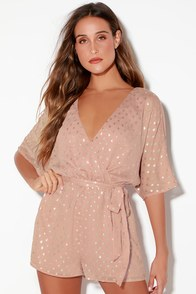 Delight At Dawn Gold And Mauve Print Surplice Romper at Lulus.com!