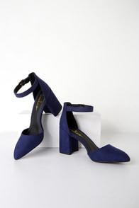 Ellarose Navy Blue Suede Ankle Strap Heels at Lulus.com!