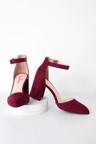 Ellarose Burgundy Suede Ankle Strap Heels at Lulus.com!