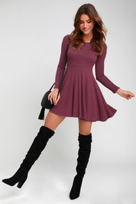 Fit And Fair Mauve Purple Ribbed Knit Long Sleeve Skater Dress at Lulus.com!
