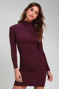 Phenomenal Feeling Purple Long Sleeve Bodycon Dress at Lulus.com!